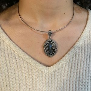 konstantino silver/gold and Blue Hematite pendant.